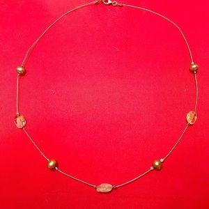 Silpada Citrine Green/Bronze Pearls Wire Necklace